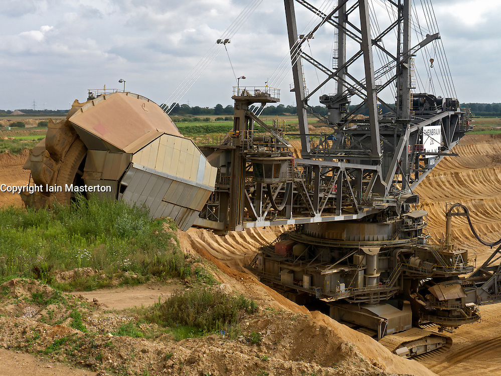 Large excavation machines working in RWE open-cast brown or lignite coal mine at Hambach in Northrhine Westfallia in Germany