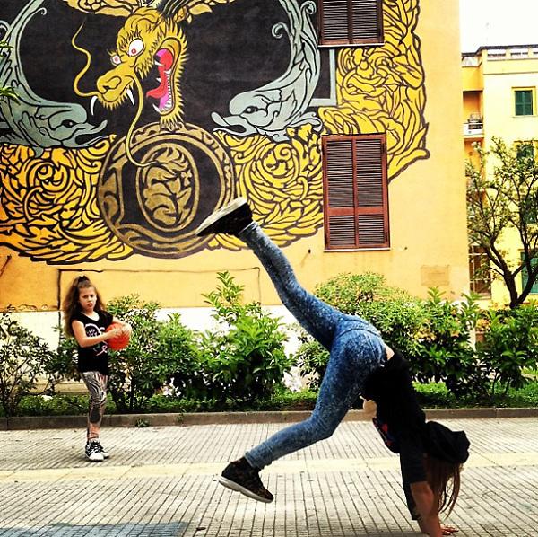 Rome 2015: girls playing at Tor Marancia.