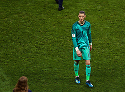 MOSCOW, RUSSIA - Sunday, July 1, 2018: Adios... Spain's goalkeeper David De Gea walks off dejected after losing 4-3 on penalties during the FIFA World Cup Russia 2018 Round of 16 match between Spain and Russia at the Luzhniki Stadium. (Pic by David Rawcliffe/Propaganda)