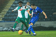 Ollie Rathbone shoots during the EFL Sky Bet League 1 match between Rochdale and Plymouth Argyle at Spotland, Rochdale, England on 15 December 2018.
