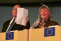 BRUSSELS, BELGIUM - MAY 31, 2001 - FROM LEFT TO RIGHT - Nabeel Shaath, Minister of Planning and International Cooperation for the Palestian National Authority, and Yasser Arafat, leader of the PLO answer questions during a news conference at the European Commission, in Brussels, Thursday. (PHOTO © JOCK FISTICK)