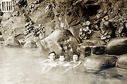outdoor Onsen with children and young adult Japan 1950s