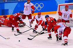 23.02.2018, Gangneung Hockey Centre, Gangneung, KOR, PyeongChang 2018, Eishockey Semifinale, Tschechien vs OAR, im Bild kovar (jan), andronov (sergei), zub (artyom), gusev (nikita), kalinin (sergei), koshechkin (vasili) // during the ice hockey semifinal match between Czech Republic vs OAR of the Pyeongchang 2018 Winter Olympic Games at the Gangneung Hockey Centre in Gangneung, South Korea on 2018/02/23. EXPA Pictures © 2018, PhotoCredit: EXPA/ Pressesports/ Jerome Prevost<br /> <br /> *****ATTENTION - for AUT, SLO, CRO, SRB, BIH, MAZ, POL only*****