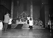 St Valentine Commemorated..1968..14.02.1968..02.14.1968..14th February 1968..On St Valentine's Day, the remains of the saint, which are kept in the Carmelite Church in Whitefriar Street, Dublin, are taken from the shrine to the high altar where a special Mass is celebrated.  ..A view of the altar in Whitefriar Street Church in Dublin where the remains of St Valentine lie..
