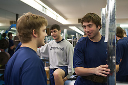 27 November 2007: North Carolina Tar Heels men's lacrosse Mike Chires and Ian Morrison (R) during a weight lifting session in Chapel Hill, NC.