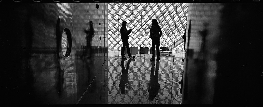 Scenic Panoramas from Seattle, WA..Inside the Seattle Central Public Library.