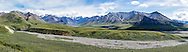 Composite panorama of Mount Eielson and the Alaska Range along the Thorofare River in Denali National Park in Southcentral Alaska. Summer. Afternoon.