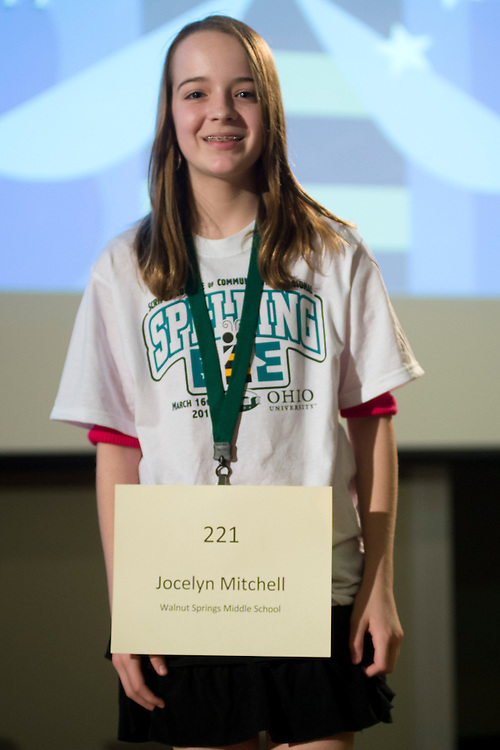 Jocelyn Mitchell of Walnut Springs Middle School introduces herself during the Columbus Metro Regional Spelling Bee Regional Saturday, March 16, 2013. The Regional Spelling Bee was sponsored by Ohio University's Scripps College of Communication and held in Margaret M. Walter Hall on OU's main campus.