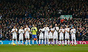 Leeds players joining in the pre match round of applause in memory of former Leeds Manager Jimmy Armfield, during the EFL Sky Bet Championship match between Leeds United and Cardiff City at Elland Road, Leeds, England on 3 February 2018. Picture by Paul Thompson.