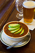 Quinoa Chili topped with fresh avocado, at Baldwin Saloon in The Dalles Oregon