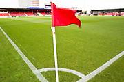 Crew Alexandra Stadium corner flag.  EFL Sky Bet League 2 match between Crewe Alexandra and Exeter City at Alexandra Stadium, Crewe, England on 5 October 2019.
