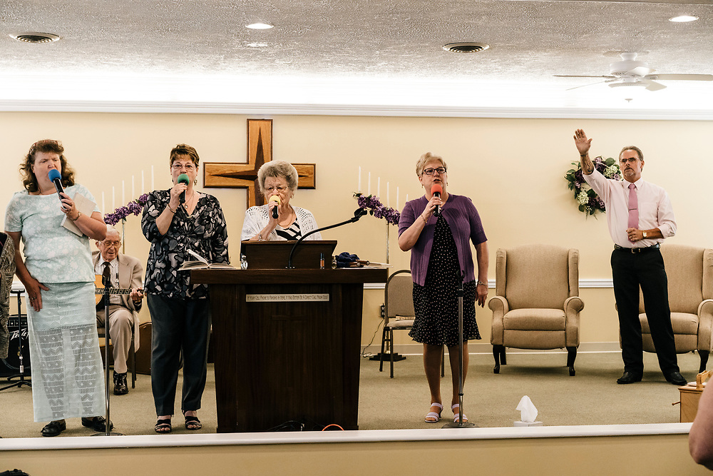 The church choir sings during service at Full Gospel Pentecostal Church in Martinsburg, WV on June 4, 2017.
