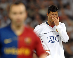 A dejected Cristiano Ronaldo reacts during the UEFA football Champions League on May 27, 2009 at the Olympic Stadium in Rome.