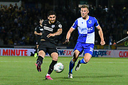 Alireza Jahanbakhsh (16) of Brighton and Hove Albion shoots at goal during the EFL Cup match between Bristol Rovers and Brighton and Hove Albion at the Memorial Stadium, Bristol, England on 27 August 2019.