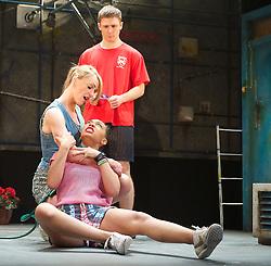 Danny-Boy Hatchard as Ste.Suranne Jones as Sandra. Zaraah Abrahams as Leah..Beautiful Thing by Jonathan Harvey, the Art's Theatre, London, Great Britain, April 16, 2013, April 22, 2013. Photo by: Elliott Franks / i-Images