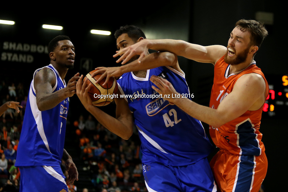 Tai Wesley (L) of the Saints and Nick Kay of the Sharks compete for the ball in the NBL basketball match between the Southland Sharks and Wellington Saints, ILT Stadium Southland, Invercargill, Sunday, May 22, 2016. Photo: Dianne Manson / www.photosport.nz