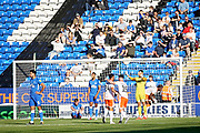 Blackpool forward Armand Gnanduillet (21)  celebrates his goal  during the EFL Sky Bet League 1 match between Peterborough United and Blackpool at The Abax Stadium, Peterborough, England on 29 September 2018.