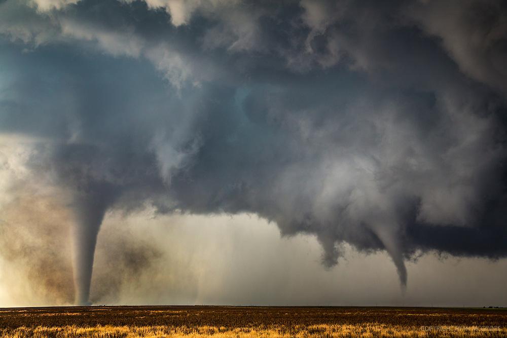 Two tornadoes near Dodge City, Kansas, May 24, 2016.