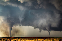 Two tornadoes near Dodge City, Kansas, May 24, 2016.