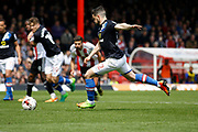 Blackburn Rovers midfielder Craig Conway (32) takes a penalty and scores (Score 1-3) during the EFL Sky Bet Championship match between Brentford and Blackburn Rovers at Griffin Park, London, England on 7 May 2017. Photo by Andy Walter.