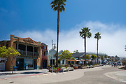 Morning street scene in Avila Beach, California, USA. Front Street.