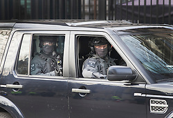© Licensed to London News Pictures. 06/02/2017. London, UK. Armed counter terrorism police are seen in a Landrover at the gates of Downing Street as Israeli Prime Minister Benjamin Netanyahu meets with British Prime Minister Theresa May. Photo credit: Peter Macdiarmid/LNP