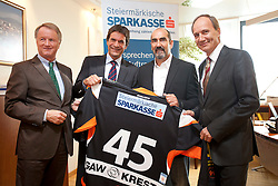 07.09.2011, Sparkassen Center, Graz, AUT, EBEL, 99ers Pressekonferenz, im Bild Jochen Pildner-Steinburg (99ers Präsident), Leo Hrovath (Steiermärkische Sparkasse Marketing), Mario Richer (99ers Headcoach) und Franz Kerber (Steiermärkische Sparkasse Vorstand) // during a 99ers Press-Conference, Sparkassen Center, Graz, Austria, 2011-09-07, EXPA Pictures © 2011, PhotoCredit: EXPA/ E. Scheriau
