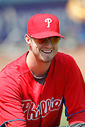 LOS ANGELES, CA - AUGUST 10:  Pitcher Kyle Kendrick #38 of the Philadelphia Phillies smiles during the game against the Los Angeles Dodgers on August 10, 2011 at Dodger Stadium in Los Angeles, California. The Phillies won the game 9-8. (Photo by Paul Spinelli/MLB Photos via Getty Images) *** Local Caption *** Kyle Kendrick