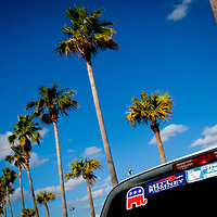 TAMPA, FL -- November 29, 2011 -- Support stickers line a truck as Republican Presidential candidate Gov. Mitt Romney speaks at the Port of Tampa during a campaign stop in Tampa, Fla., on Tuesday, November 29, 2011.  (PHOTO / CHIP LITHERLAND)