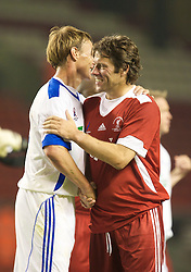 LIVERPOOL, ENGLAND - Thursday, May 14, 2009: All Stars' Teddy Sheringham and John Bishop during the Hillsborough Memorial Charity Game at Anfield. (Photo by David Rawcliffe/Propaganda)