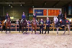 1 Zirocco Blue VDL, 2 Zapatero VDL, 3 Arezzo VDL, Zavall VDL<br /> KWPN Stallion Selection - 's Hertogenbosch 2014<br /> © Dirk Caremans