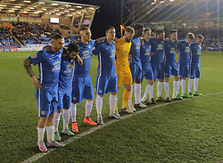 Peterborough United players stand for a minutes silence to remember the victims of the Belgium terrorist attacks.  - Mandatory by-line: Joe Dent/JMP - Mobile: 07966 386802 - 25/03/2016 - FOOTBALL - ABAX Stadium - Peterborough, England - Peterborough United v Coventry City - Sky Bet League One