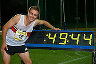 PRETORIA. SOUTH AFRICA: Thursday 5 April 2012,LJ van Zyl during the Yellow Pages Inter-club athletic meeting held at the ABSA-Tuks stadium, Tshwane. Lj van Zyl won the 400m hurdles in a Olympic a qualifying time of 49.42 secondes officially..Photo by : ImageSA