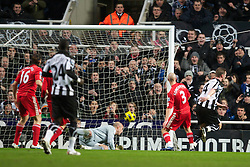 NEWCASTLE, ENGLAND - Saturday, December 11, 2010: Newcastle United's captain Kevin Nolan scores the opening goal against Liverpool during the Premiership match at St James' Park. (Photo by: David Rawcliffe/Propaganda)