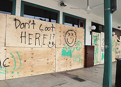 Hurricane Irma inspires messages on plywood used to protect windows as Hurricane Irma approaches Fort Lauderdale, FL, USA., on Saturday, September 9, 2017. Photo by Carline Jean/Sun Sentinel/TNS/ABACAPRESS.COM