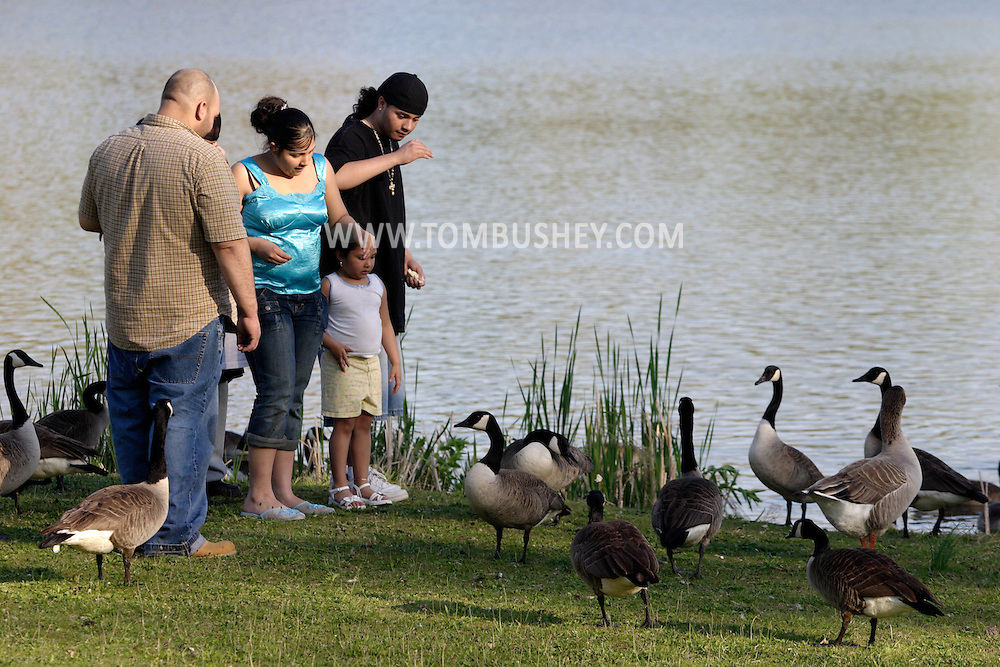 Middletown, N.Y. - A hispanic family feeds the Canada geese at Fancher-Davidge Park on May 4, 2006. ©Tom Bushey