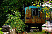 Old deserted Gypsy wagon with graffiti, Plovdiv, Bulgaria