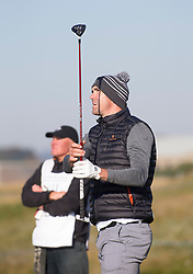 Kevin Pietersen teeing off at the second hole. Alfred Dunhill Links Championship this morning at Championship Course at Carnoustie.