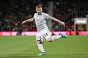 Manchester United Defender Luke Shaw shoots at goal during the Premier League match between Bournemouth and Manchester United at the Vitality Stadium, Bournemouth, England on 18 April 2018. Picture by Phil Duncan.