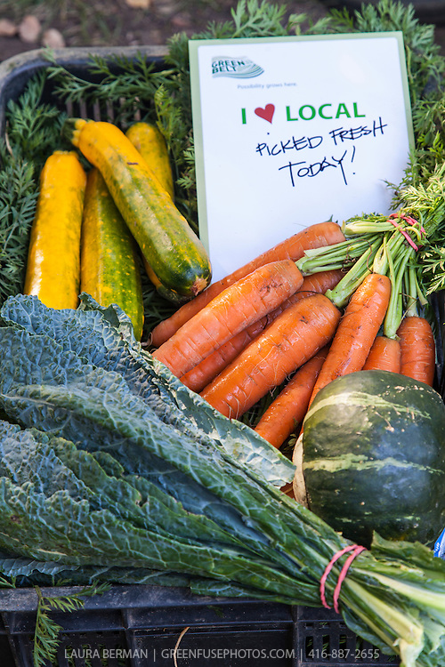 """Locally grown carrots, kale, squash and zucchini at a farmers market, with a sign that says """"I Heart Local: Picked Fresh Today"""""""