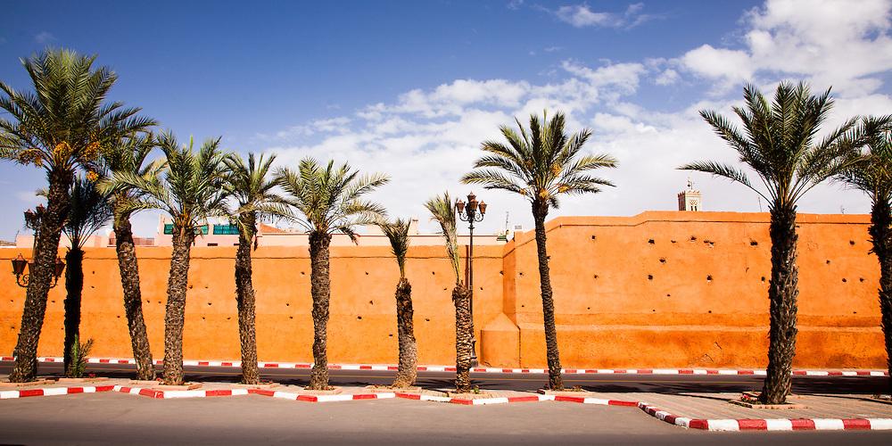 Medina walls and palms, Marrakech, Morocco.