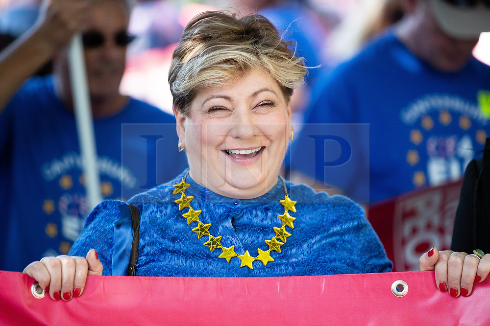 © Licensed to London News Pictures . 21/09/2019. Brighton, UK. EMILY THORNBERRY leading the march . Thousands attending a march organised by the People's Vote for a second EU referendum on Brexit pass through Brighton and along the Promenade during the first day of the 2019 Labour Party Conference from the Brighton Centre . Photo credit: Joel Goodman/LNP