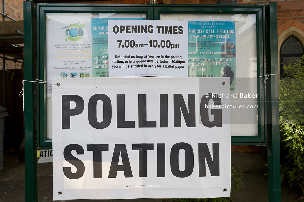 On the morning of the European Elections in the UK, a detail of the Polling Station at the Baptist Church in East Dulwich, on 23rd May 2019, in south London, England UK.
