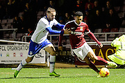 Northampton Town midfielder (on loan from Crystal Palace) Keshi Anderson (7) under pressure during the EFL Sky Bet League 1 match between Northampton Town and Oldham Athletic at Sixfields Stadium, Northampton, England on 28 February 2017. Photo by Dennis Goodwin.