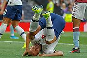 Tottenham Hotspur forward Harry Kane (10) takes a tumble during the Premier League match between Tottenham Hotspur and Aston Villa at Tottenham Hotspur Stadium, London, United Kingdom on 10 August 2019.