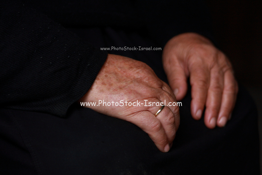 Albania Portrait of a mature Albanian woman close up on her hands