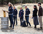 EAST MONTPELIER - USA Vermont Olympians speak at Morse Farm about the influence of climate change on winter sports they have experienced world wide and make suggestions on attacking the problem. Speaking, Susan Dunklee, L/R Ida Sargent, Liz Stephens, Hannah Dreissigacker