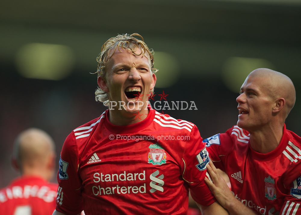 LIVERPOOL, ENGLAND - Saturday, September 25, 2010: Liverpool's Dirk Kuyt celebrates scoring the opening goal against Sunderland during the Premiership match at Anfield. (Photo by David Rawcliffe/Propaganda)