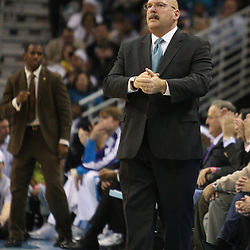 Feb 17, 2010; New Orleans, LA, USA;  New Orleans Hornets head coach Jeff Bower watches his team against the Utah Jazz during the second quarter at the New Orleans Arena. Mandatory Credit: Derick E. Hingle-US PRESSWIRE