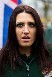 © Licensed to London News Pictures . 15/11/2014 . Kent , UK . JAYDA FRANSEN , Britain First candidate in the Rochester and Strood By-election , at a Britain First march on High Street Rochester during the final weekend before the Rochester and Strood by-election . Photo credit : Joel Goodman/LNP